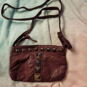 Studded small crossbody purse/bag, maroon